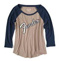 Lucky Brand - Women's L - NWT$49 - Mauve/Blue Fender Appliqué Baseball Tee