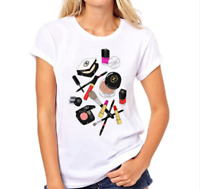 Women's summer t-shirt short sleeve round neckline print Cosmetics size S-XXL