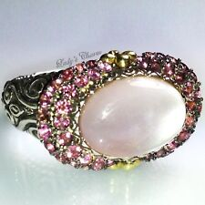 Barbara Bixby Doublet Pink MOP Tourmaline Sterling Silver 18k Gold Ring 8
