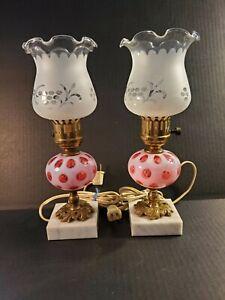 Vintage Fenton Cranberry Opalescent Coin Dot Lamps