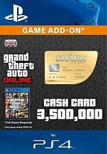 Grand Theft Auto Online Great White Shark Cash $3,750,000 PS4 UK GTA 5 V