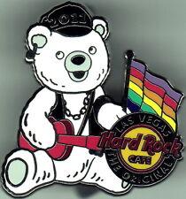 Hard Rock Cafe LAS VEGAS 2011 GAY PRIDE Teddy Bear Biker PIN with RAINBOW FLAG