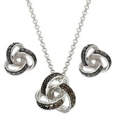 GENUINE DIAMONDS IN 925 STERLING SILVER EARRINGS & NECKLACE SET NY326