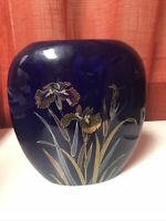"Vintage Cobalt Blue Oval Hand Painted Gold Trim Hold Lily Flowers Vase 7.5"" Tall"