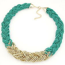 Fashion Women Crystal Jewelry Chunky Pendant Chain Statement Bib Collar Necklace
