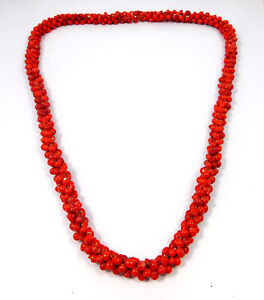 Man Made Coral Beads Tribal Look Necklace Jewelry JC10788