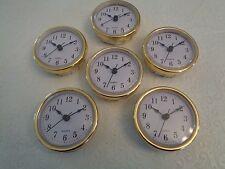 "10 PAK, 2-1/2""(65mm) QUARTZ CLOCK FIT-UP/Insert, Gold Trim, Arabic Numeral,White"