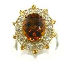 Oval Citrine, Sapphire & Diamond Solitaire Lady's Ring 14K Yellow Gold 5.34Ct