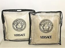 Gianni Versace Linen & Silk Embroidered Medusa Throw Pillow- Ecru Made in Italy