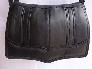 Leather Flapover Shoulder Bag Organisers with Adjustable Strap Black