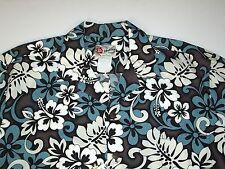 Mens Hilo Hattie Hawaiian Shirt XL Brown Blue Button Down