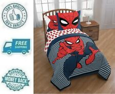 New Twin / Full Spiderman Stripes Reversible Comforter Set Bedding Sham Kid Boy