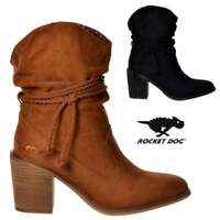 Womens Rocket Dog Deputy Western Cowboy Ankle Boot Low Heel Black Cinnamon