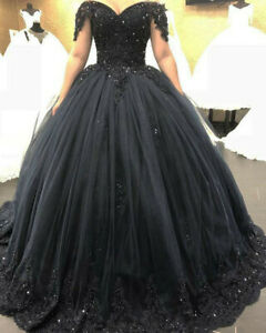 Puffy Black Ball Gown Gothic Wedding Dresses Off the Shoulder Beaded Lace Custom