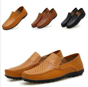 Mens Breathable Leather Moccasin Slip On Loafers Driving Casual Boat Shoes New
