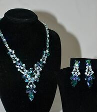 Blue Aurora Borealis Necklace & Screwback Drop Earring Set by Sherman Swarovski