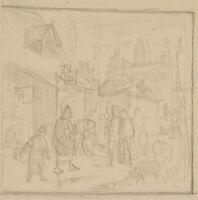 Wirtshausszene mit Trunkenbold vor der Kneipe liegend, 19. Jh., Bleistiftskizze