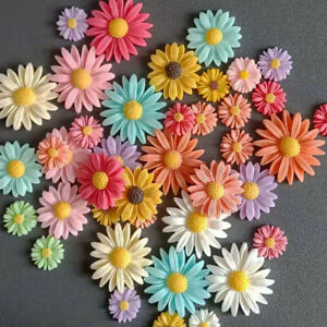 30x Mixed Resin Daisy Flowers Flatback Buttons for Crafts Decoration 13/22/27 mm