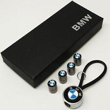 BMW car key ring + 4x tyre valve dust caps chain badge emblem holder auto lot