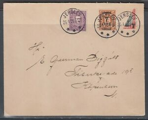 Denmark 1926. Domestic cover franked with stamp cut in half. Unusual.