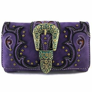 Justin West Western Rhinestone Patina Bronze Buckle Conceal Carry Tote Wallet