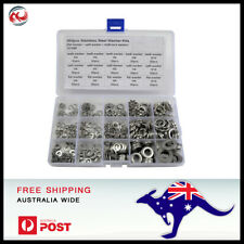 460pcs 5 Sizes Stainless Steel Flat & Lock Washer Assortment Kit M4 - M10.