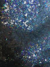 Iridescent 2mm Silver hologram Mini Glitz Sequin On Stretch Mesh Fabric By Yard
