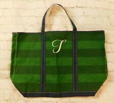 LL Bean Green Striped Tote Bag Canvas