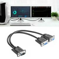 VGA Y Splitter Cable 1 Computer to Dual Monitor Male to Female Adapter Wire Cord