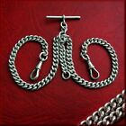 Antique solid silver double Albert pocket watch chain. All original. 54 grs 1906