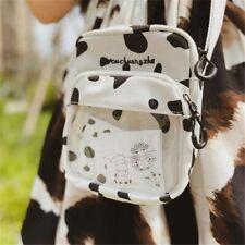 Anime Cow Print Lolita Girl Canvas Itabag Transparent Messenger Shoulder Bag