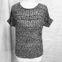 Merona Women's M Top Knit Sweater Black White Open Knit Short Sleeve Boxy #T