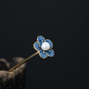 China Fashion Women Pearl Plum Blossom Flower Hairpin Hair Clasp Pure Silver 925