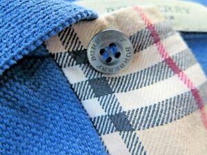 BURBERRY LONDON Men's Golf Polo Shirt *Tan Nova Check Trim* Blue sz M Medium