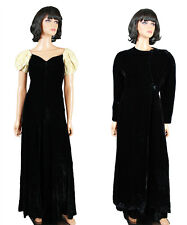 Vintage 20s 30s Dress & Coat Set XS S Long Black Silk Velvet Ivory Sequins Gown