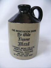 HONEYMOON DRINK YE OLD LIQUEUR MEAD POTTERY FLAGON BOTTLE CORNWALL DEMIJOHN