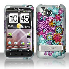 For HTC Thunderbolt 4G  Hard Rubberized Case Snap Phone Purple Blue Flowers