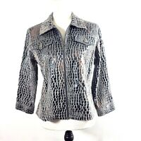 Ruby Rd Jacket Womens Sz 8 Gray Faux Snake Skin Reptile Print Zip Up Soft Feel