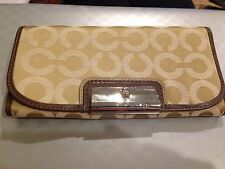 NWT Coach Signature Op Art Kristin Slim Envelope Wallet 45073 Khaki Mahogany$208