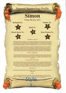 Personal Numerology Profile Scroll - Personalised Gift A4 Print