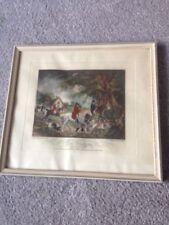 gravure chasse à courre cheval équitation jagd FOX HUNTING SCENE Antique Print