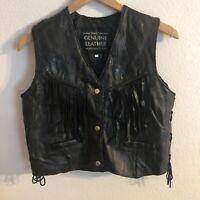 Italian Stone  Leather Design Black Fringe Western Vest Size M