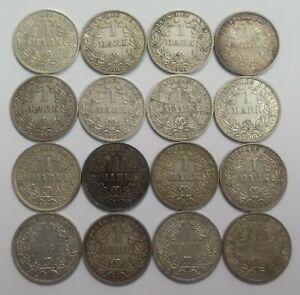 Kaiserreich 1 Mark 1891-1915, Jäger Nr. 17, 5,55g Ag 900er Silber, AUSWAHL (S2-2