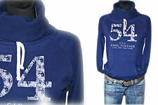 Cool Vintage Frontdruck Sweatshirt Pulli Funnelneck Navy Dunkelblau NEU Gr.36 38
