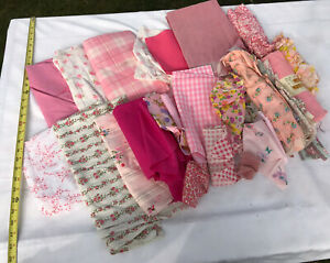 4 LB Lot VTG Cotton Fabric Scrap Remnant Yds Craft Quilt Novelty Pinks Floral