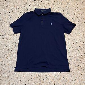 Ralph Lauren Polo Shirt Mens Large Blue Logo Pony Classic Cotton Short Sleeve