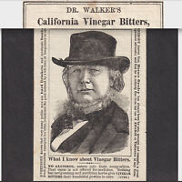 Dr Walkers Califorinia Vinegar Bitters Cure-All 1800's Horace Greeley Trade Card