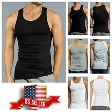 3, 6 PACK Tank Top T-Shirt COTTON A-Shirt Ribbed Gym Muscle Sleeveless Under Tee
