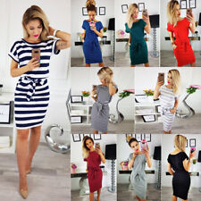 Women Short Sleeve Stripe Midi Dress Summer Evening Party Bodycon Beach Sundress