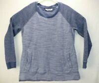 LL Bean Womens Size Medium Blue Sweater Knit Pockets Long Sleeve EUC